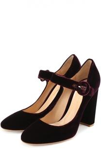 Бархатные туфли Lorraine с ремешком Gianvito Rossi