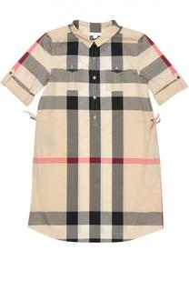 Хлопковое платье-рубашка в клетку Burberry