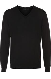 Шерстяной приталенный пуловер BOSS