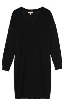 Вязаное мини-платье с длинным рукавом и V-образным вырезом Burberry Brit