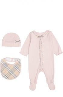 Пижама в комплекте с нагрудником и шапкой Burberry