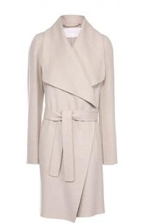 Пальто прямого кроя с широкими лацканами и поясом HUGO