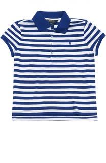 Хлопковое поло в полоску с вышитым логотипом бренда Polo Ralph Lauren