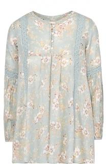 Хлопковая блуза свободного кроя с цветочным принтом Denim&Supply by Ralph Lauren