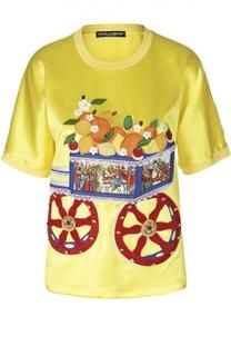 Шелковый топ прямого кроя с вышивкой Dolce & Gabbana