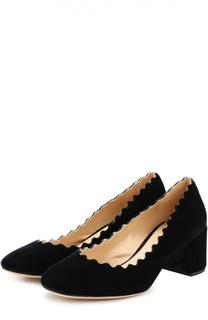 Бархатные туфли Lauren с фигурным вырезом Chloé