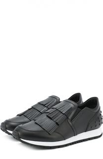 Кожаные кроссовки Sportivo с бахромой Tod's