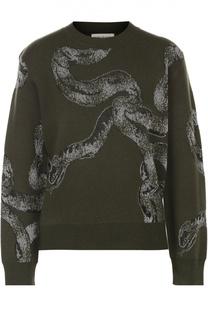 Укороченный пуловер прямого кроя с принтом Dries Van Noten