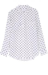 Шелковая блуза с контрастным принтом и накладными карманами Equipment