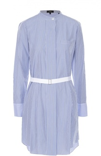 Удлинная блуза в полоску с накладным карманом и поясом Theory