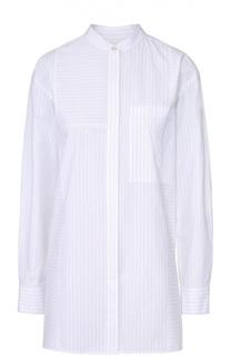 Удлиненная блуза свободного кроя в полоску DKNY