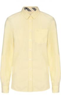 Хлопковая блуза прямого кроя с накладным карманом Burberry Brit