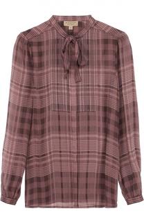 Шелковая блуза в клетку с воротником аскот Burberry Brit