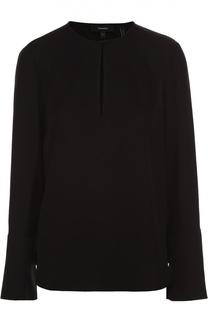 Шелковая блуза прямого кроя с вырезом-капелька Theory