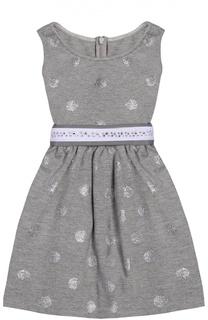 Платье джерси с декорированным поясом Monnalisa
