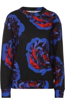 Свитшот прямого кроя с контрастным цветочным принтом DKNY
