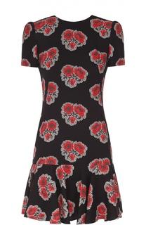 Шелковое платье свободного кроя с цветочным принтом и оборкой Alexander McQueen