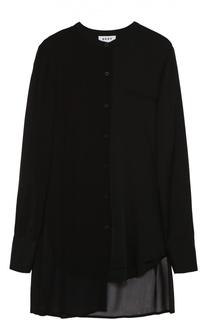 Шелковая блуза асимметричного кроя с полупрозрачными вставками DKNY