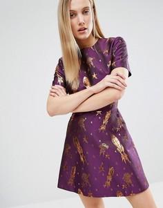 Жаккардовое платье мини с принтом House Of Holland - Фиолетовый