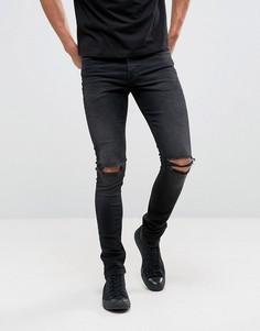 Зауженные рваные джинсы из денима плотностью 12,5 унций ASOS - Черный