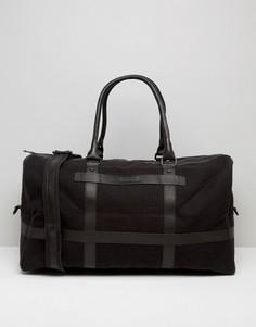 Черная парусиновая сумка с кожаной отделкой Barneys - Черный Barneys Originals