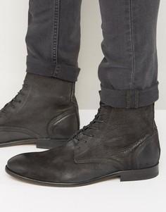 Нубуковые ботинки на шнуровке Hudson London Swathmore - Черный