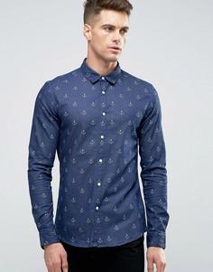 Темно-синяя джинсовая рубашка суперузкого кроя с принтом якорей ASOS - Темно-синий