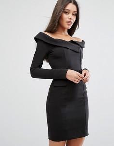 Платье мини с открытыми плечами Lavish Alice - Черный
