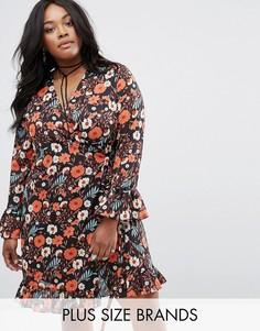 Чайное платье с оборкой и цветочным принтом Alice & You - Мульти