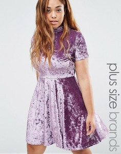 Club L Plus Crushed Velvet High Neck Skater Dress - Фиолетовый