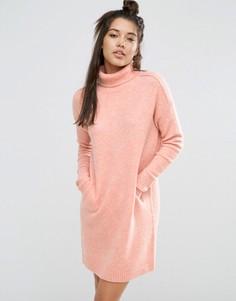 Платье-джемпер с высокой горловиной ASOS LOUNGE - Розовый