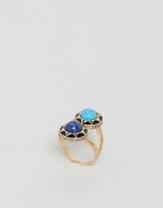 Броское кольцо с двумя камнями House Of Harlow - Черный
