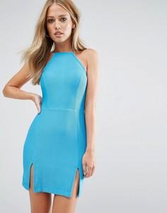 Платье со спинкой-борцовкой и разрезом спереди Rare - Синий