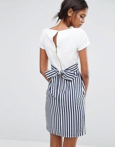Полосатое платье с завязкой сзади и пуговицами Closet - Мульти