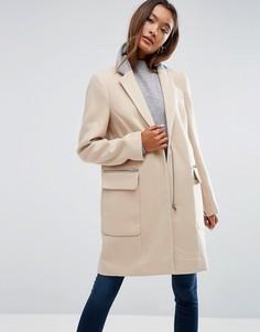 Пальто классического кроя с контрастным воротником ASOS - Stone