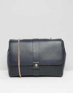 Кожаная сумка на плечо с цепочками Modalu - Темно-синий