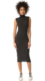 Миди-платье без рукавов водолазка в рубчик Enza Costa