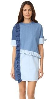 Платье из денима с оборками Sjyp
