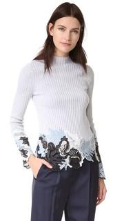 С длинным рукавом в рубчик пуловер с кружевной с вышивкой 3.1 Phillip Lim
