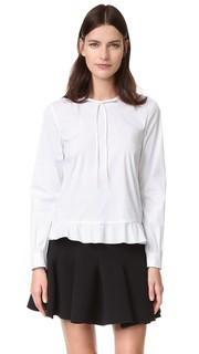 Блуза с вырезом завязками Подол с оборками RED Valentino