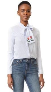 Полосатая блуза с принтом в виде пеонов English Factory