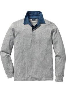 Футболка-поло Regular Fit с длинным рукавом (синий) Bonprix