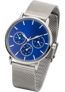 Наручные часы с сетчатым браслетом в стиле хронографа (серебристый/черный) Bonprix