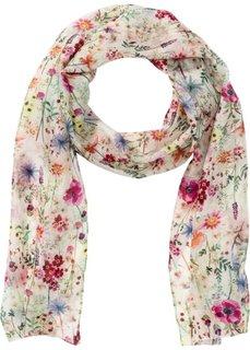 Узкий шелковый шарф с цветочным принтом (кремовый/различные расцветки) Bonprix
