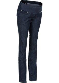 Мода для беременных: прямые джинсы с заниженной талией (синий «потертый») Bonprix