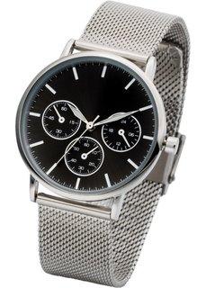 Наручные часы с сетчатым браслетом в стиле хронографа (серебристый/синий) Bonprix