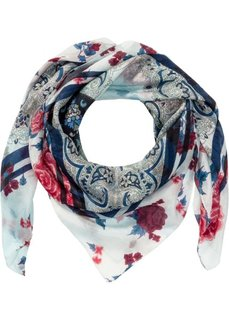 Классический шелковый платок с орнаментом (кремовый/синий) Bonprix