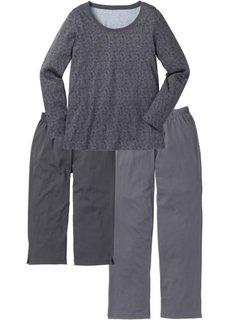 Пижама (3 изд.) (светло-серый меланж с узором) Bonprix
