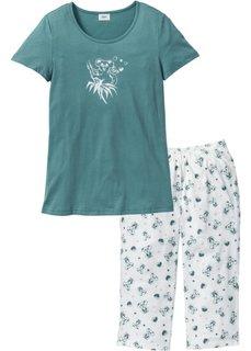 Пижама-капри (темно-серый/белый с принтом) Bonprix
