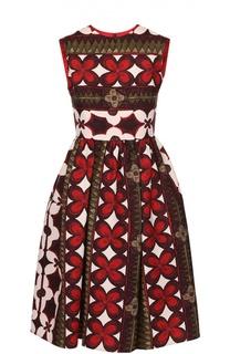 Приталенное платье-миди с контрастным принтом Valentino